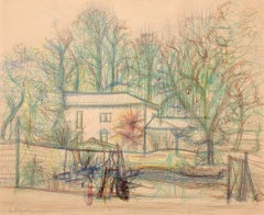 Jean Carzou, House by the roadside, 1997 , crayon and ink on paper 17.5 x21.5 in