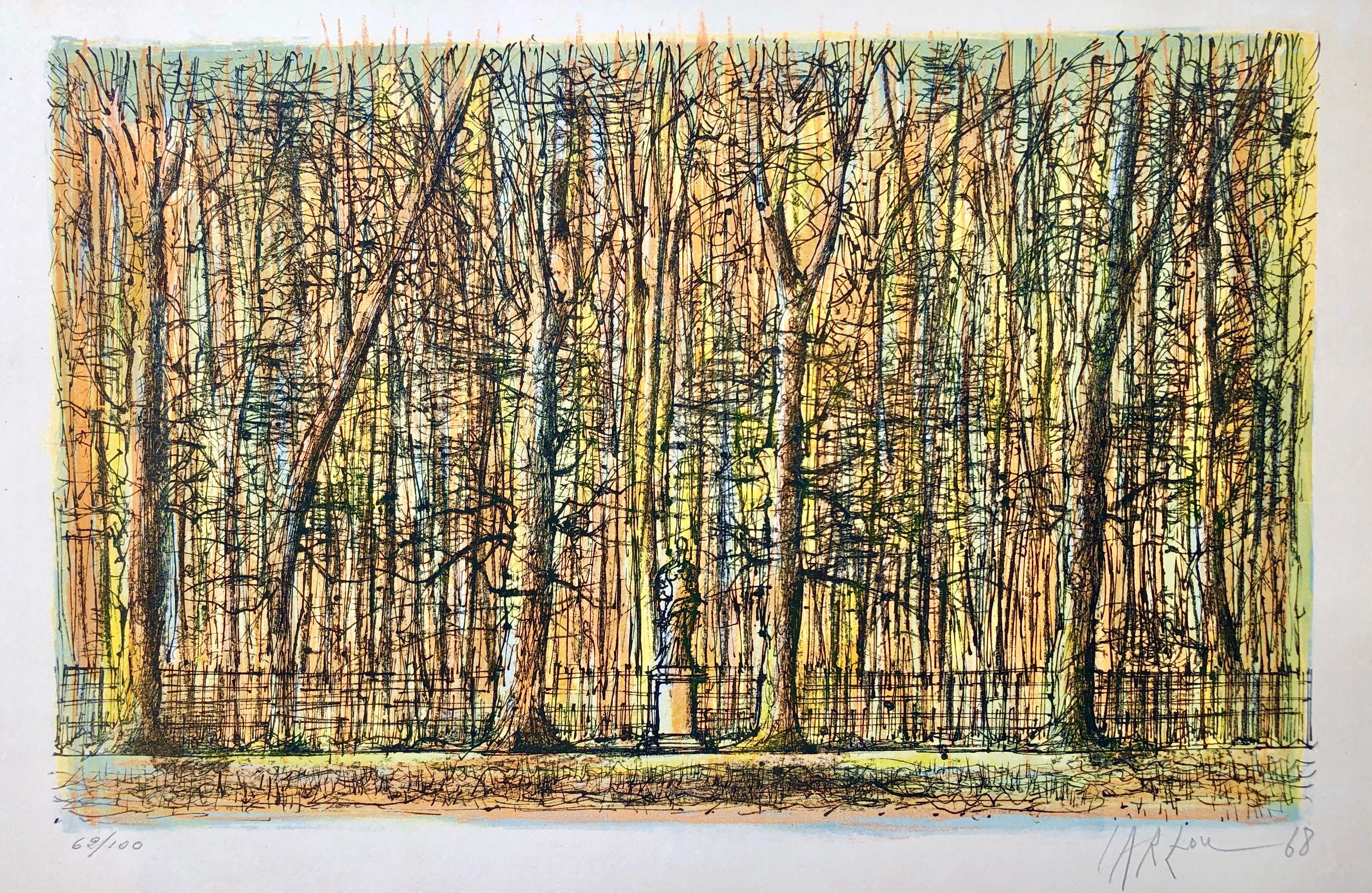 1968 Carzou French Modernist Color Lithograph Versailles Palace Gardens