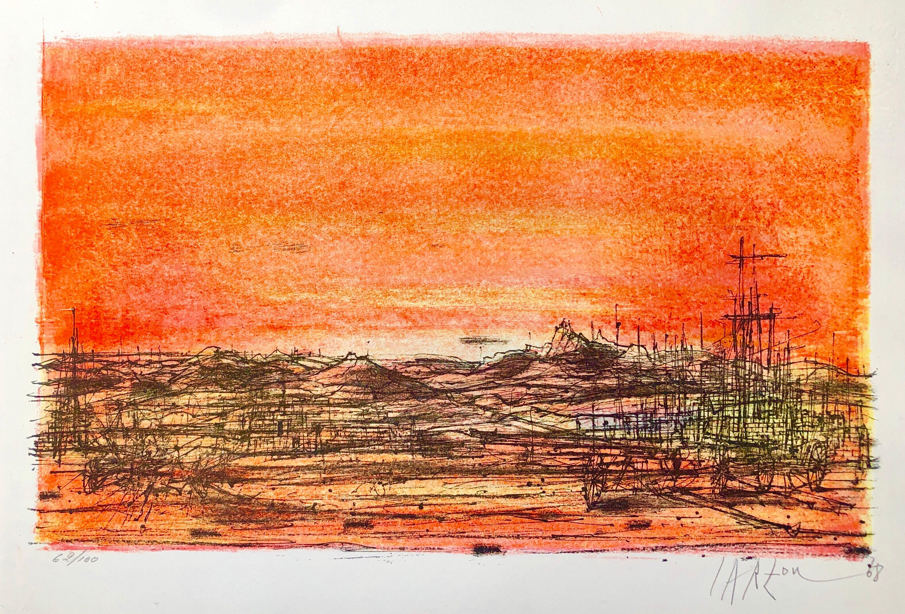 1968 Carzou French Modernist Color Lithograph Volcano Flaming Orange Color