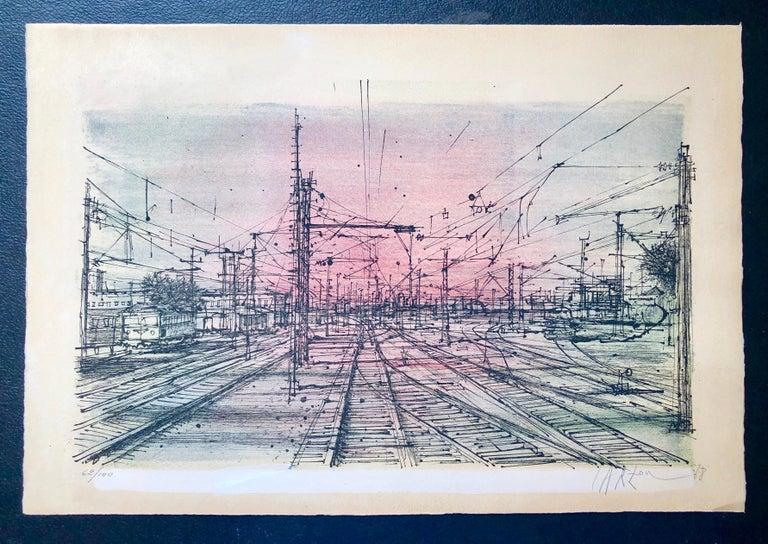 60s Carzou French Modernist Color Lithograph Paris Train Station LeChemin de Fer For Sale 6