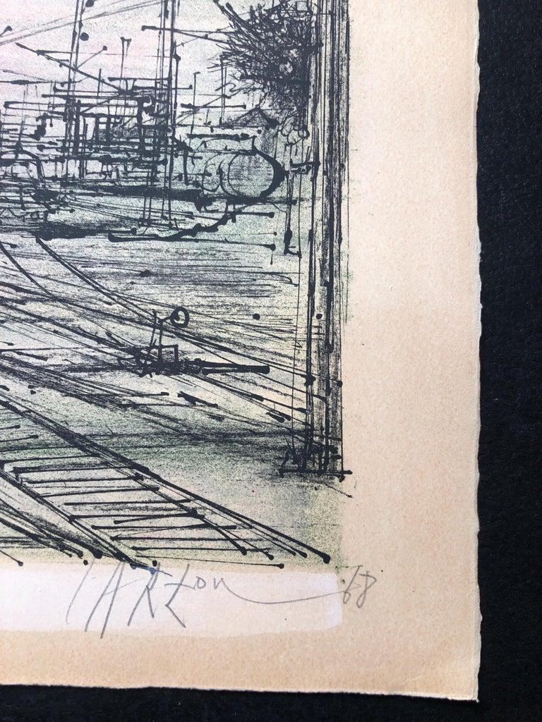 60s Carzou French Modernist Color Lithograph Paris Train Station LeChemin de Fer - Print by Jean Carzou