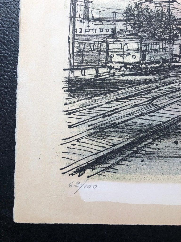 60s Carzou French Modernist Color Lithograph Paris Train Station LeChemin de Fer - Gray Abstract Print by Jean Carzou