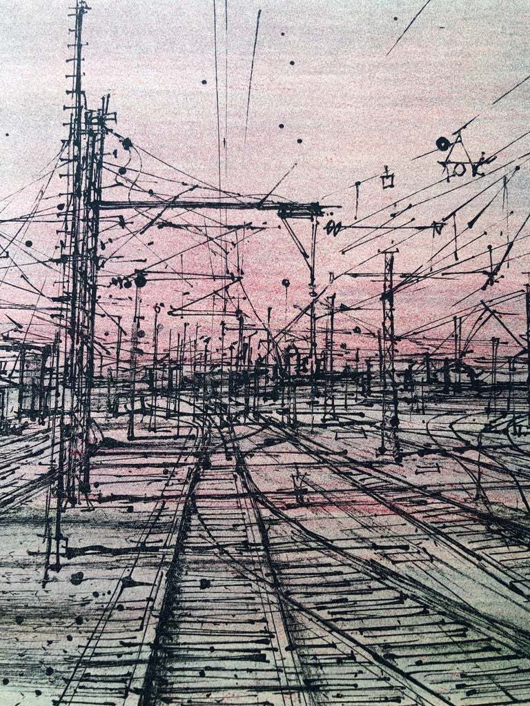 This is a hand signed in pencil, vintage, limited edition lithograph modern art print, printed in Switzerland on Rives French art paper in 1968. in shades of pink, black, white. Similar to iconic works by Saul Steinberg. Jean Carzou (Armenian: Ժան