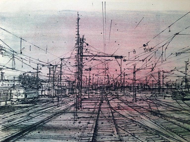 60s Carzou French Modernist Color Lithograph Paris Train Station LeChemin de Fer For Sale 1