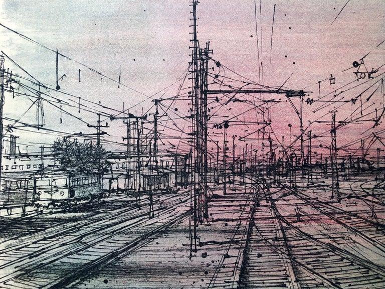 60s Carzou French Modernist Color Lithograph Paris Train Station LeChemin de Fer For Sale 2