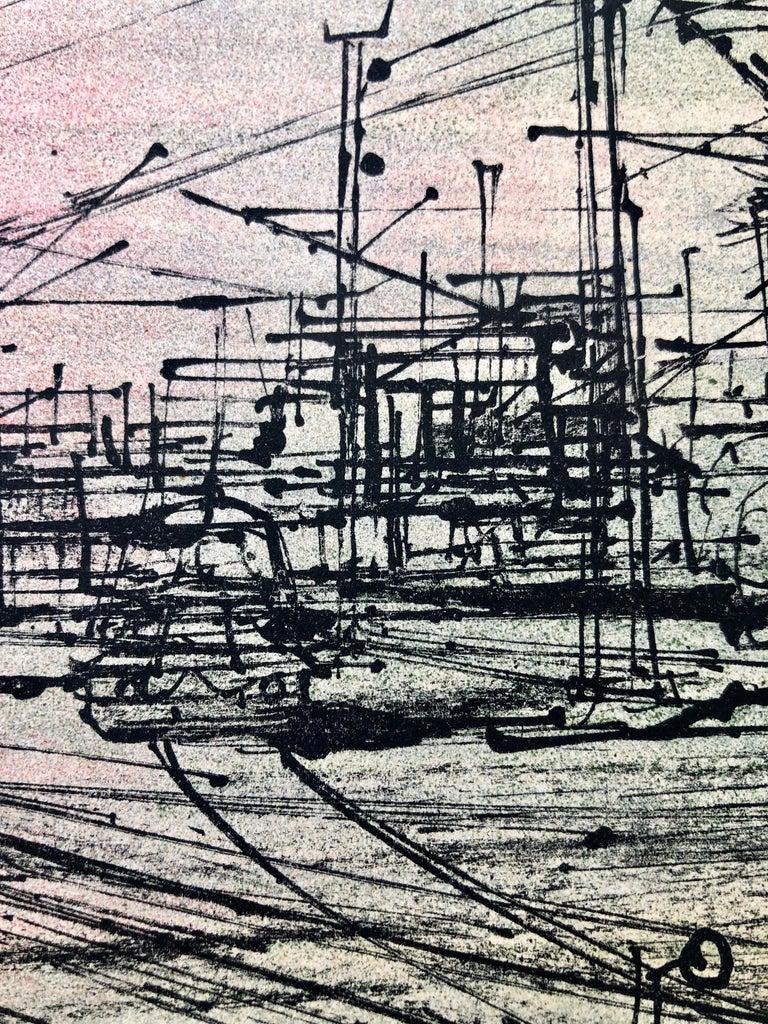 60s Carzou French Modernist Color Lithograph Paris Train Station LeChemin de Fer For Sale 3