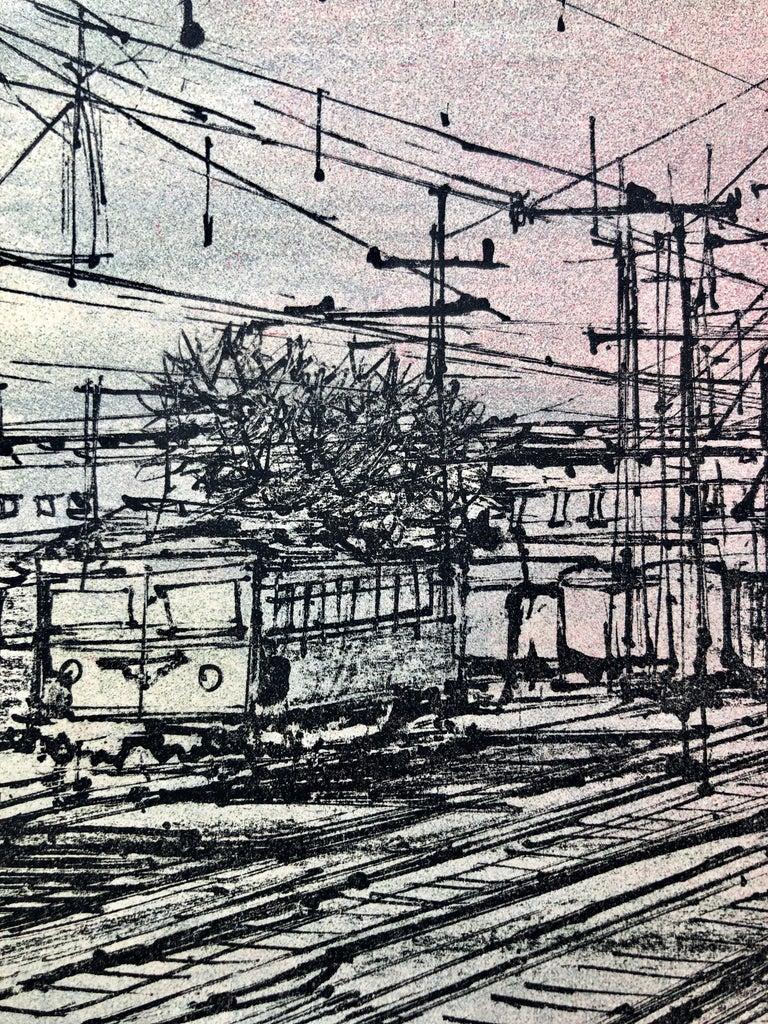 60s Carzou French Modernist Color Lithograph Paris Train Station LeChemin de Fer For Sale 4