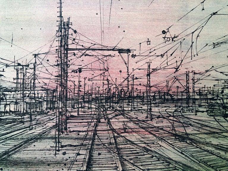 60s Carzou French Modernist Color Lithograph Paris Train Station LeChemin de Fer For Sale 5