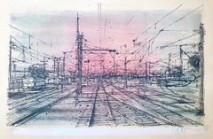 60s Carzou French Modernist Color Lithograph Paris Train Station LeChemin de Fer