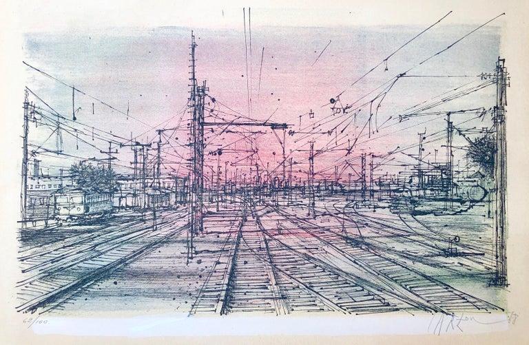 Jean Carzou Abstract Print - 60s Carzou French Modernist Color Lithograph Paris Train Station LeChemin de Fer