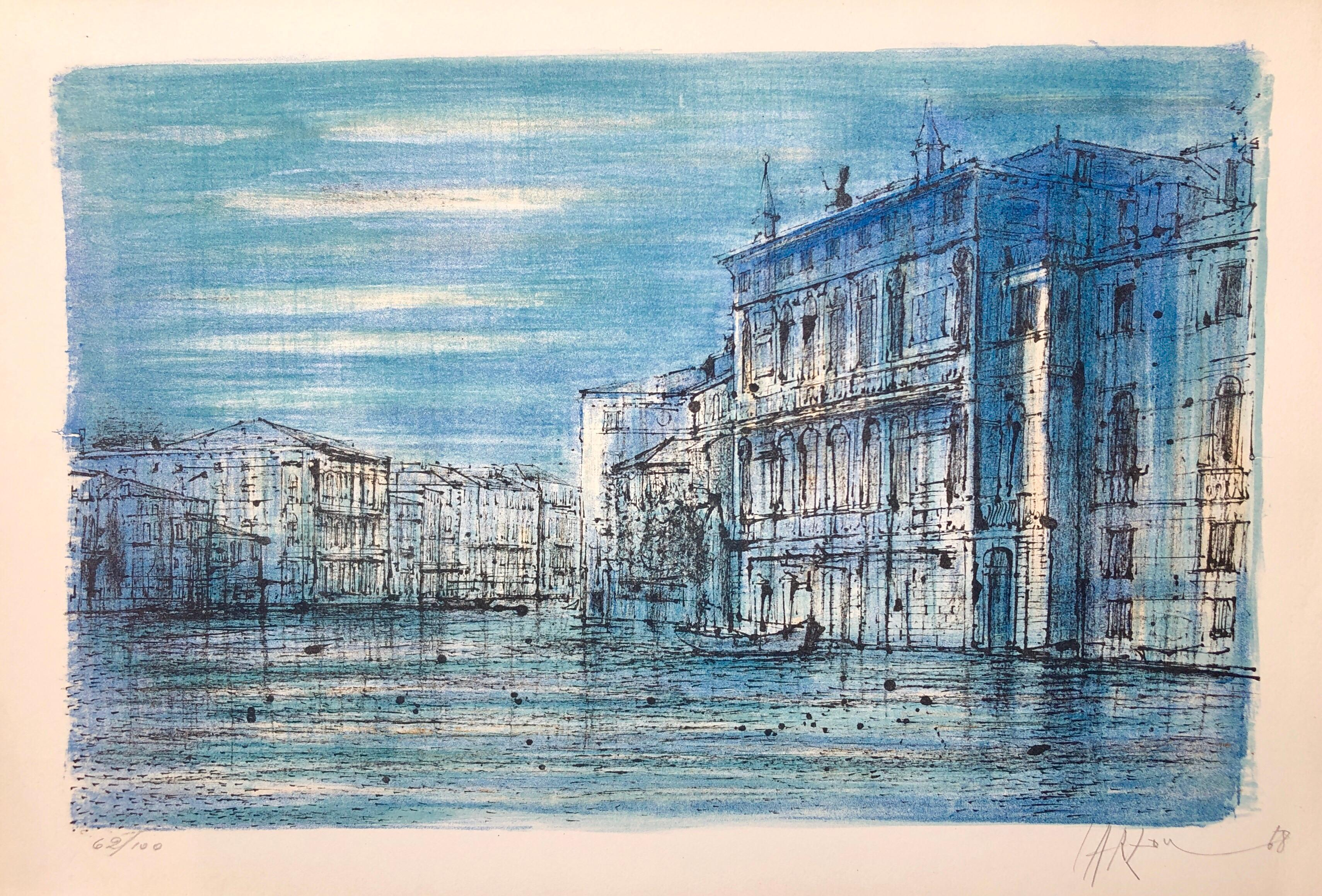 Carzou French Modernist Color Lithograph Grand Canal Venice with Gondola Boat