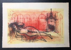 Carzou French Modernist Color Lithograph Harem Nude L'Odalisque Vibrant Red