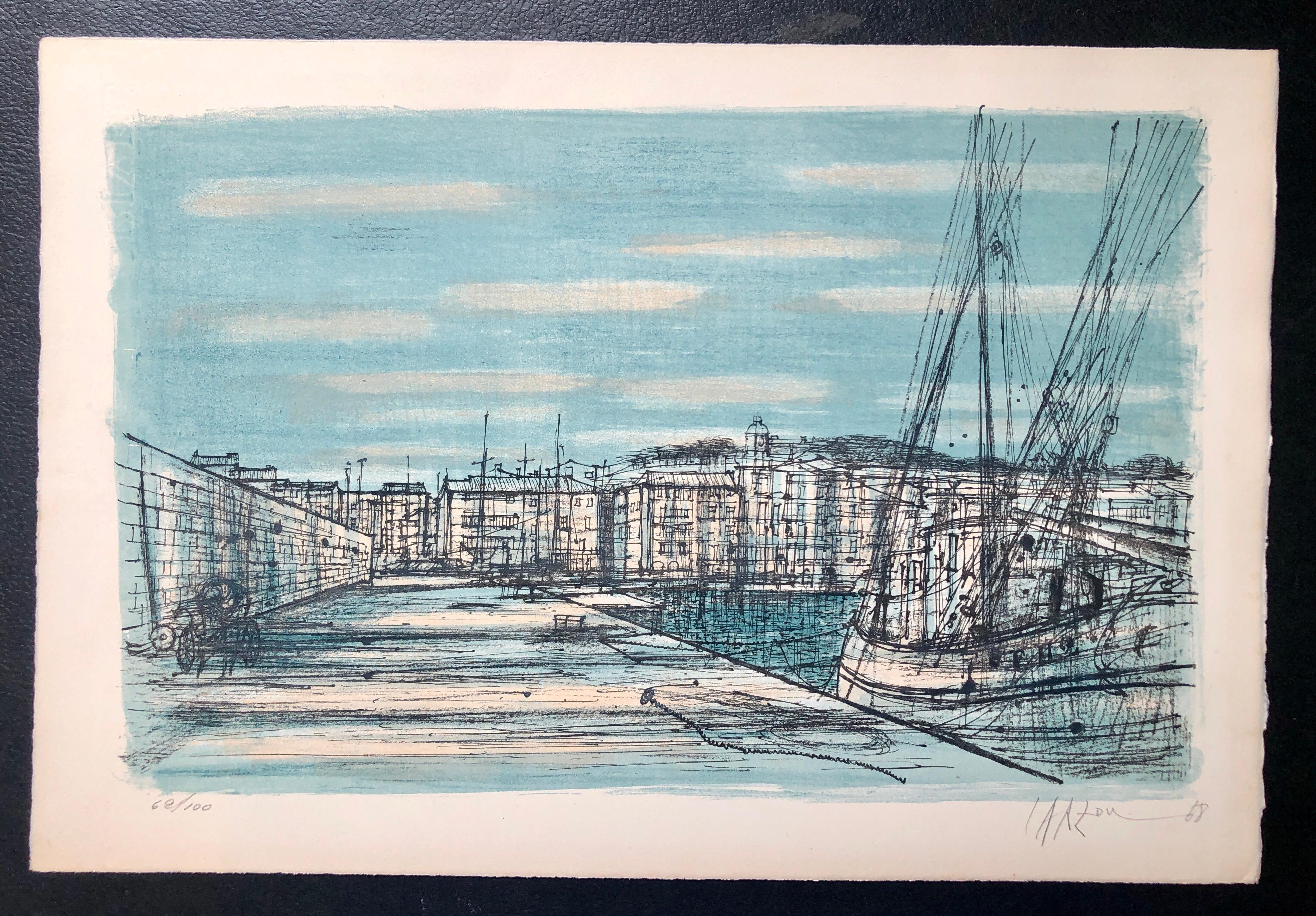 Carzou French Modernist Color Lithograph Saint Tropez Harbor with Boats
