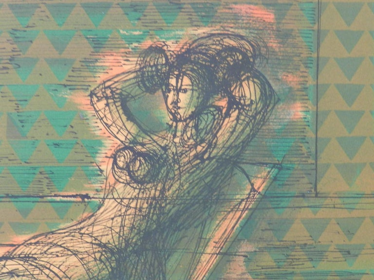 Original Lithograph signed by Jean Carzou Artists Proof 13 of 36 Woman in Room For Sale 2