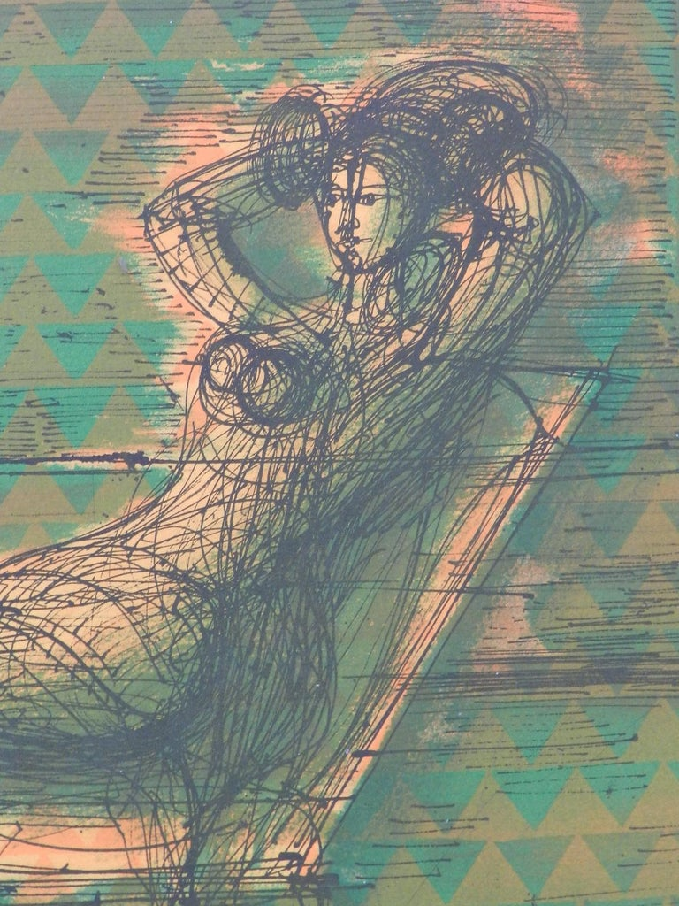 Original Lithograph signed by Jean Carzou Artists Proof 13 of 36 Woman in Room For Sale 8