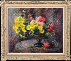 Carnations & Marigolds.Still Life.Impressionistic Pointillism.Original Painting