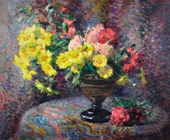 Carnations & Marigolds.Still Life.Impressionistic Pointillism.Original Painting