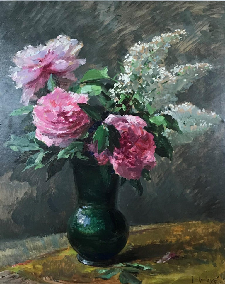Les pivoines roses aux lilas (Pink peonies with lilacs) - Painting by Jean Chaleyé
