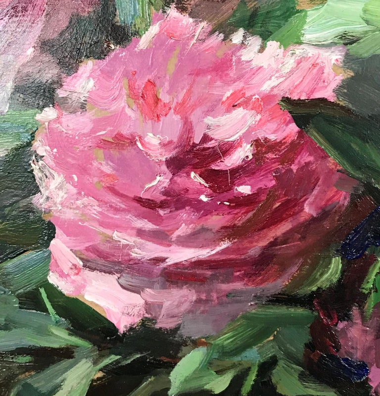 Les pivoines roses aux lilas (Pink peonies with lilacs) - Post-Impressionist Painting by Jean Chaleyé