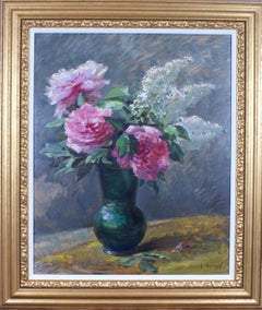 Les pivoines roses aux lilas (Pink peonies with lilacs)