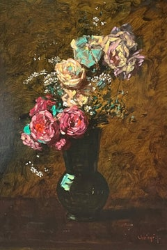 """""""Roses aux Marguerites,"""" Jean Chaleye, Impressionist Flowers and Vase Still Life"""