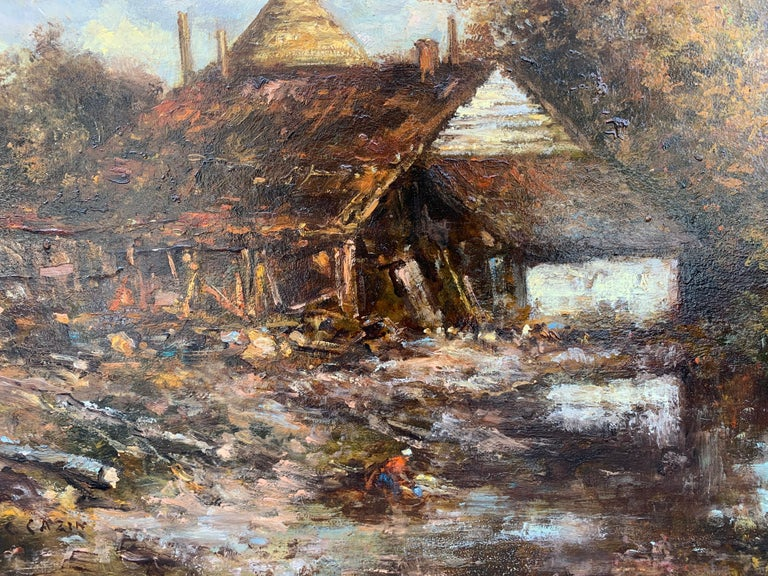 Oil on panel representing a barn, signed JC Cazin on the lower left corner.  Jean Charles Cazin (1840-1901) Born in Samer (his father, from Bologna, a doctor, was at the origin of the creation of the Berck hospitals). Jean-Charles studied at the