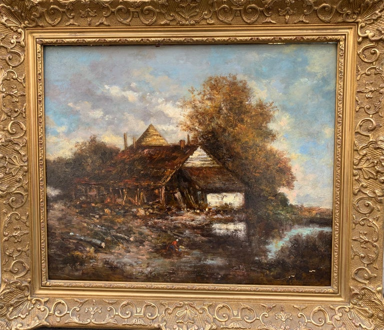 The Barn, Oil On Bord, Signed Jean-Charles Cazin, Barbizon School, 1865 For Sale 1