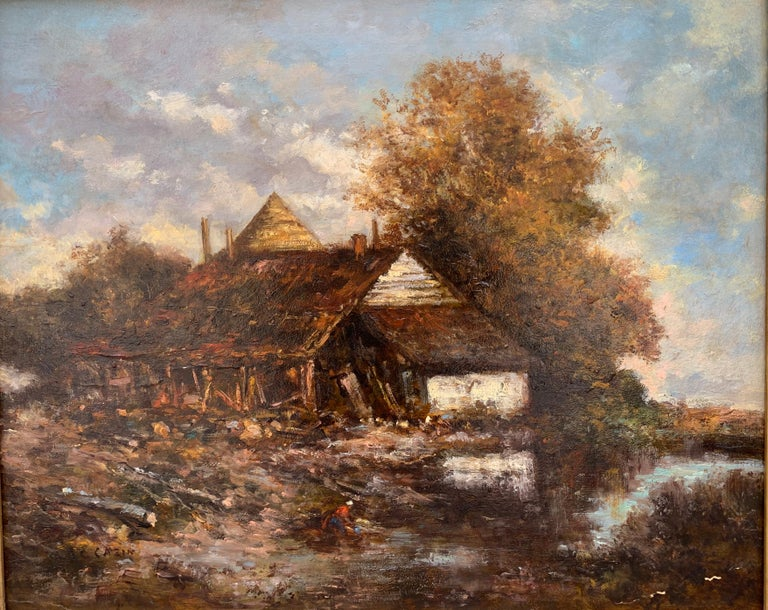 The Barn, Oil On Bord, Signed Jean-Charles Cazin, Barbizon School, 1865 - Painting by Jean-Charles Cazin