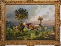 Antique Barbizon Sunset Landscape Signed Oil Painting by Jean Charles Cazin