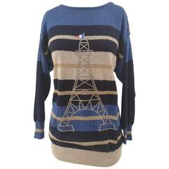 Jean Charles de Castelbajac blue tour Eiffel sweater NWOT