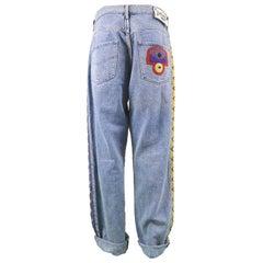 Jean Charles de Castelbajac Men's Vintage 1980s Baggy Blue Denim & Suede Jeans