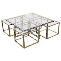 Jean Charles Maison, Huge Coffee Table Chrome & Brass 4 Nesting Tables, Paris