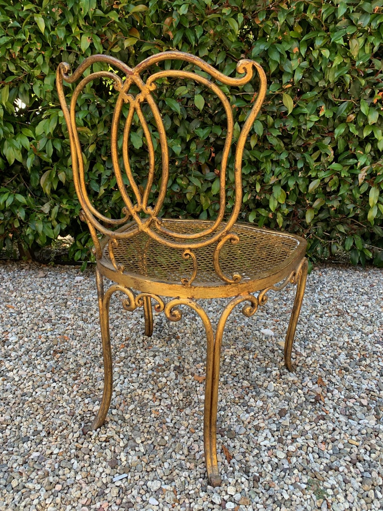Jean Charles Moreux Gilt French Vanity Stool Chair In Good Condition For Sale In Los Angeles, CA