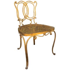 Jean Charles Moreux Gilt French Vanity Stool Chair