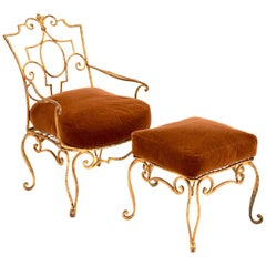 Jean-Charles Moreux Gilt Iron Armchair and Ottoman with Mohair Cushions