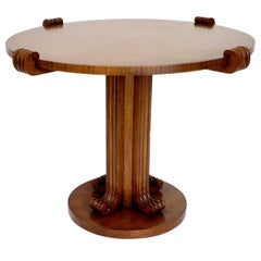 Jean-Charles Moreux Round Table with Sculptural Base and Top in Figured Walnut