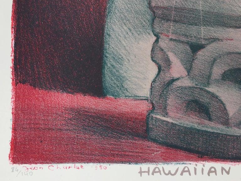 HAWIIAN DRUMMER - Gray Figurative Print by Jean Charlot