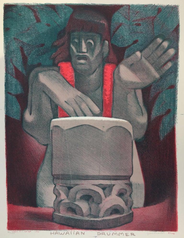 Jean Charlot Figurative Print - HAWIIAN DRUMMER