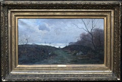 Path across Heathland - French Victorian Impressionist landscape oil painting