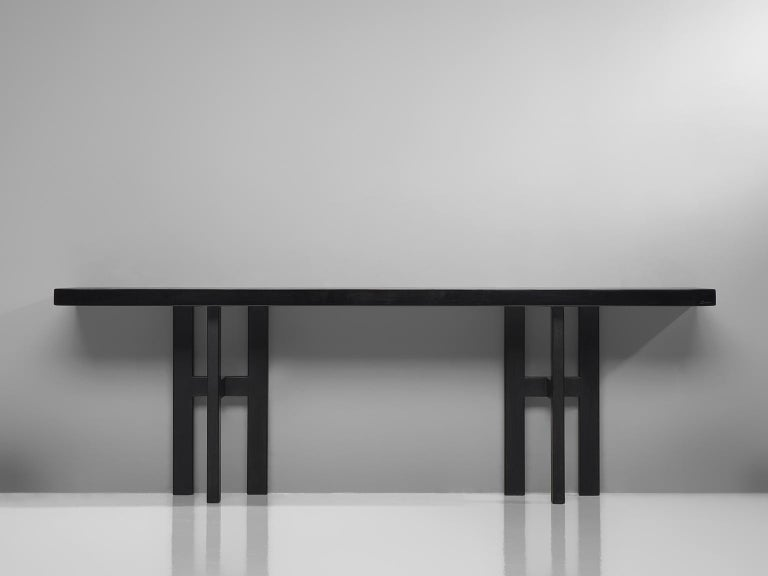 Jean Claude Dresse, console, resin and steel, Belgium, 1970s  Wonderful resin console table is a design by the hand of Belgian designer Jean Claude Dresse. This console is made out of a resin table top, resting on lacquered metal feet. The
