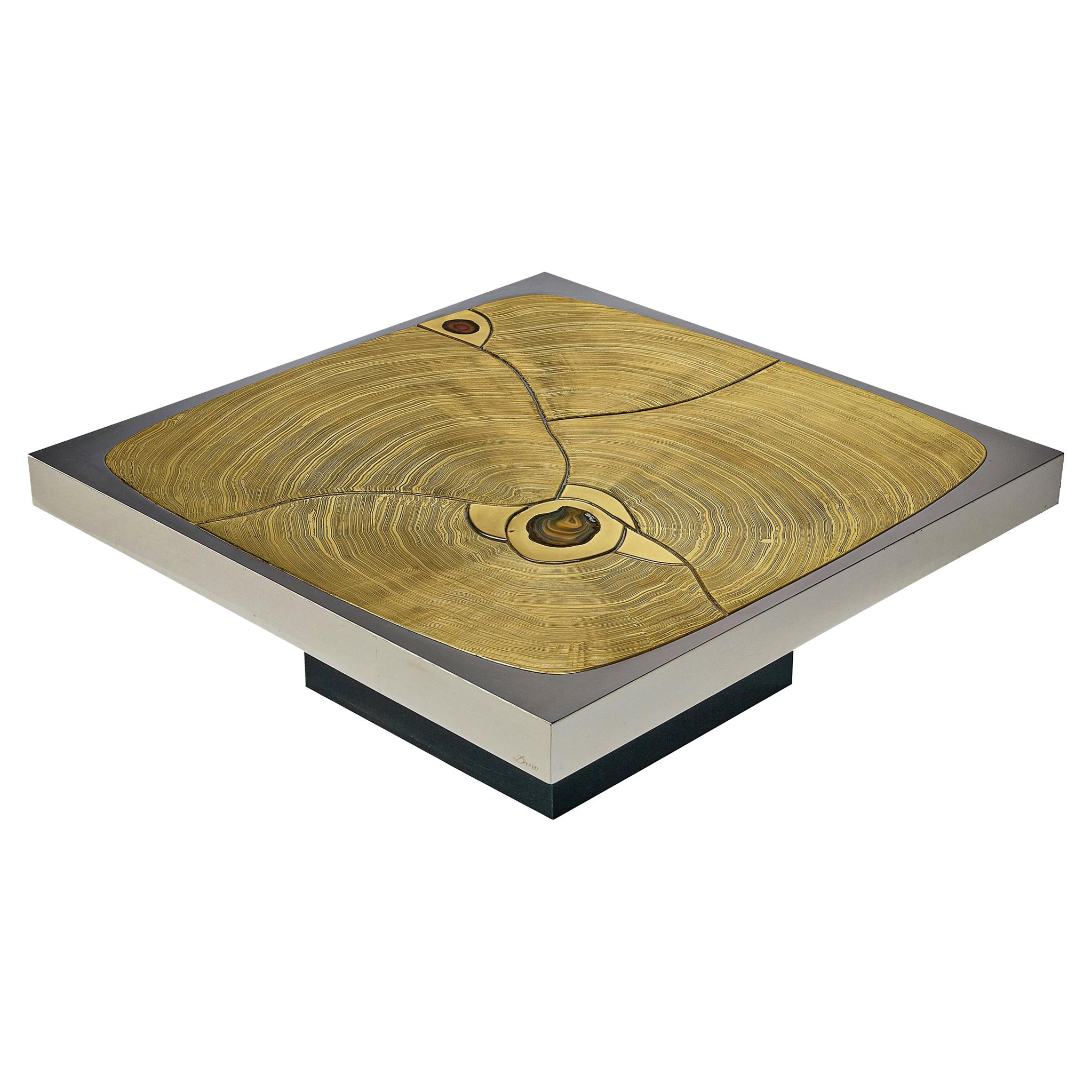 Jean Claude Dresse Coffee Table in Brass with Agate Inlays