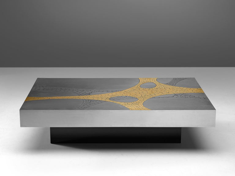 Jean Claude Dresse, coffee table, brushed stainless steel and brass, Belgium, circa 1970  An extraordinary piece, crafted with great eye for proportions and detail, typical for the work of Dresse. The combination of materials, steel, brass have a