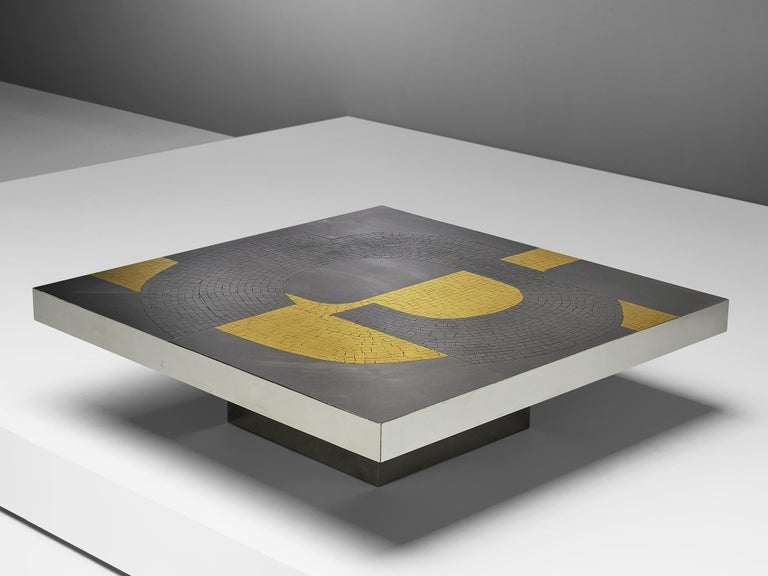 Jean Claude Dresse, coffee table, brushed stainless steel and brass, Belgium, circa 1970  An extraordinary piece, crafted with great eye for proportions and detail, typical for the work of Dresse. The combination of materials such as steel and
