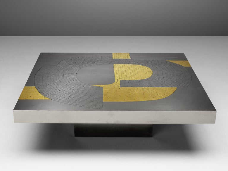 Belgian Jean Claude Dresse Coffee Table in Steel and Brass For Sale