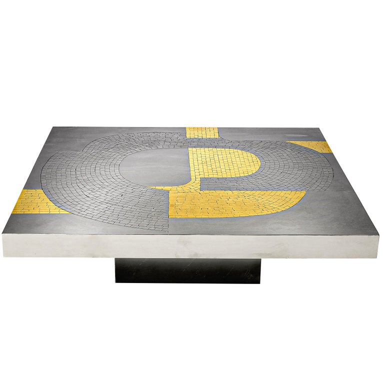 Jean Claude Dresse Coffee Table in Steel and Brass For Sale