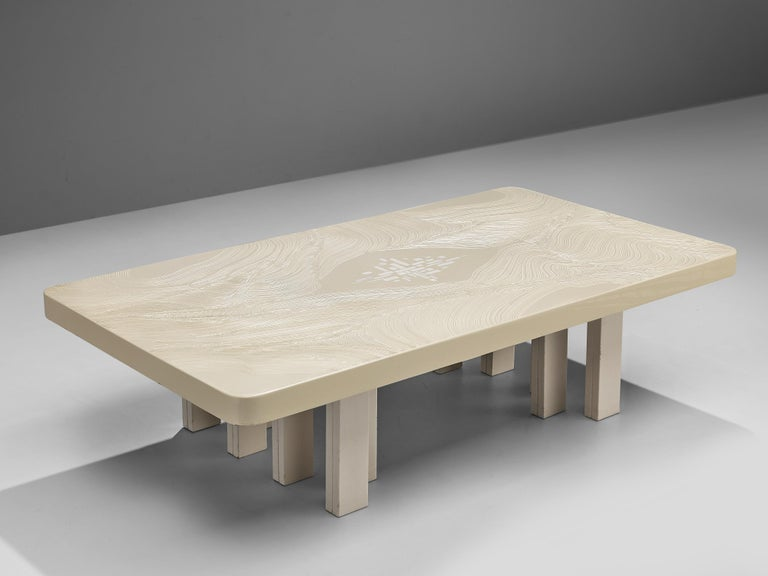 Jean Claude Dresse, coffee table, resin, inlay, Belgium, 1970s  Wonderful white resin side or coffee table designed by Belgian designer Jean Claude Dresse. This piece is made out of a resin tabletop, resting on lacquered metal feet in the same