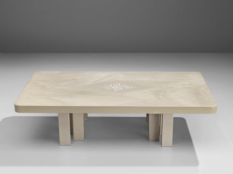 Belgian Jean Claude Dresse Coffee Table in White Resin For Sale