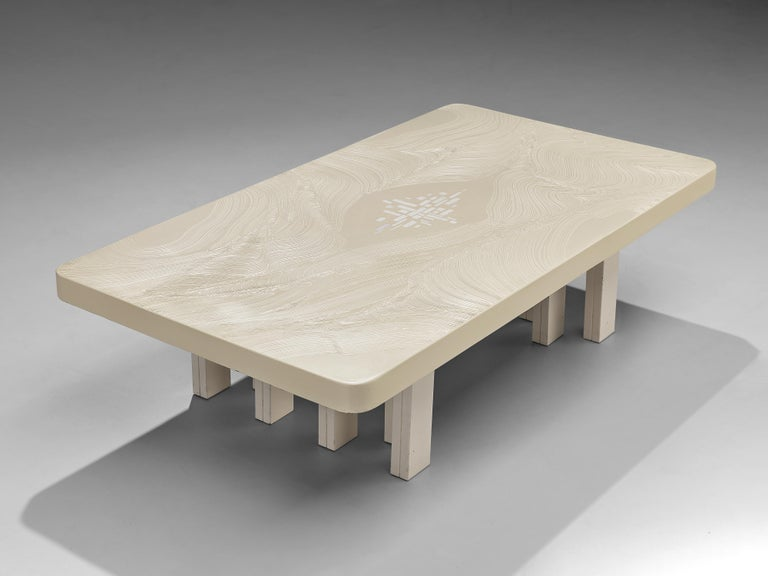 Late 20th Century Jean Claude Dresse Coffee Table in White Resin For Sale