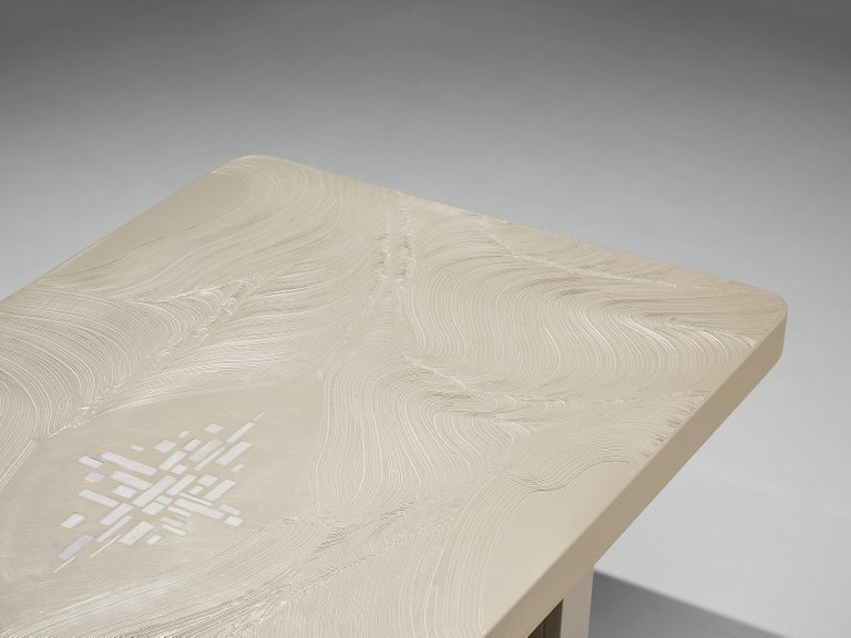 Steel Jean Claude Dresse Coffee Table in White Resin For Sale