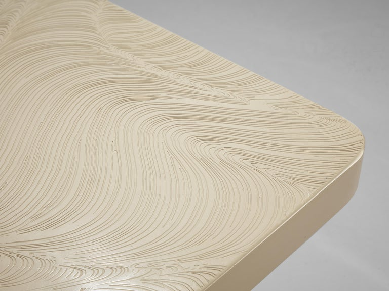 Jean Claude Dresse Coffee Table in White Resin For Sale 2